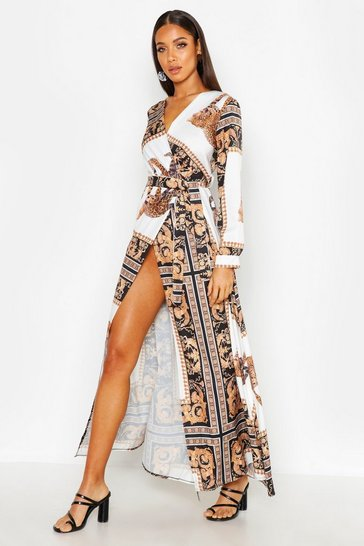 Womens Black Statement Animal Scarf Maxi Dress