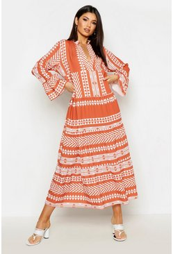 Womens Rust Aztec Smock Maxi Dress
