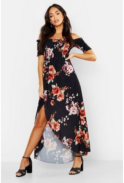 Womens Black Floral Off Shoulder Maxi Dress