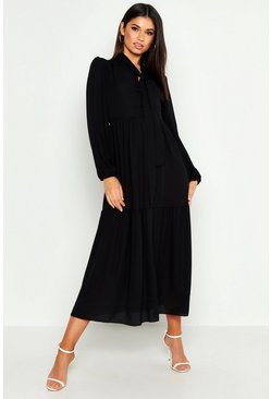 Womens Black Oversized Smock Dress