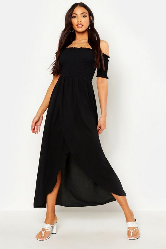 Womens Black Off The Shoulder Shirred Maxi Dress
