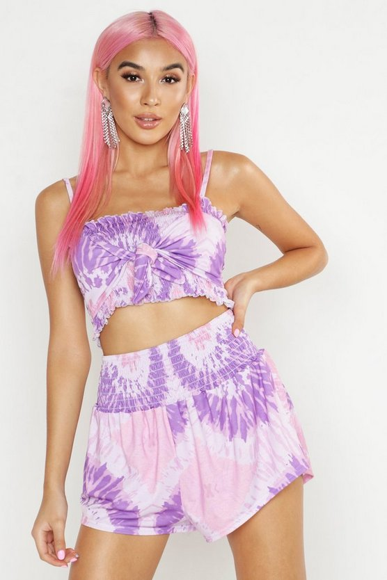 Womens Lilac Tie Dye Shirred Top & Short Co-ord