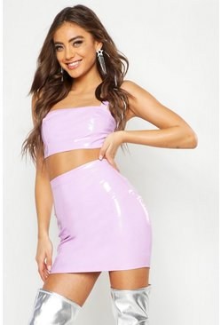 Womens Lilac PU Square Neck Crop Top & Skirt Co-ord