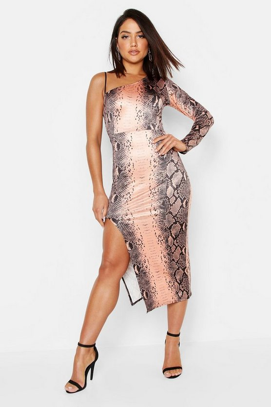 Womens Chocolate Snake Print Slinky One Shoulder Midi Dress