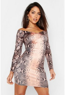 Womens Chocolate Snake Print Off The Shoulder Bodycon Dress