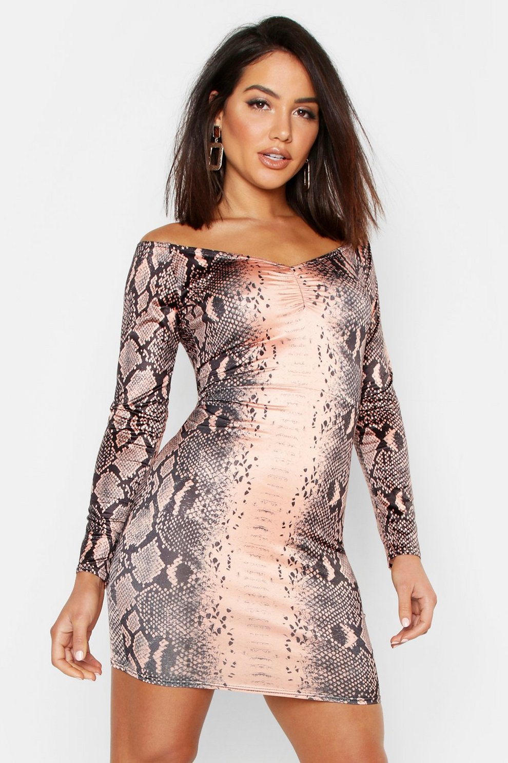 f2bc382469cb Snake Print Off The Shoulder Bodycon Dress