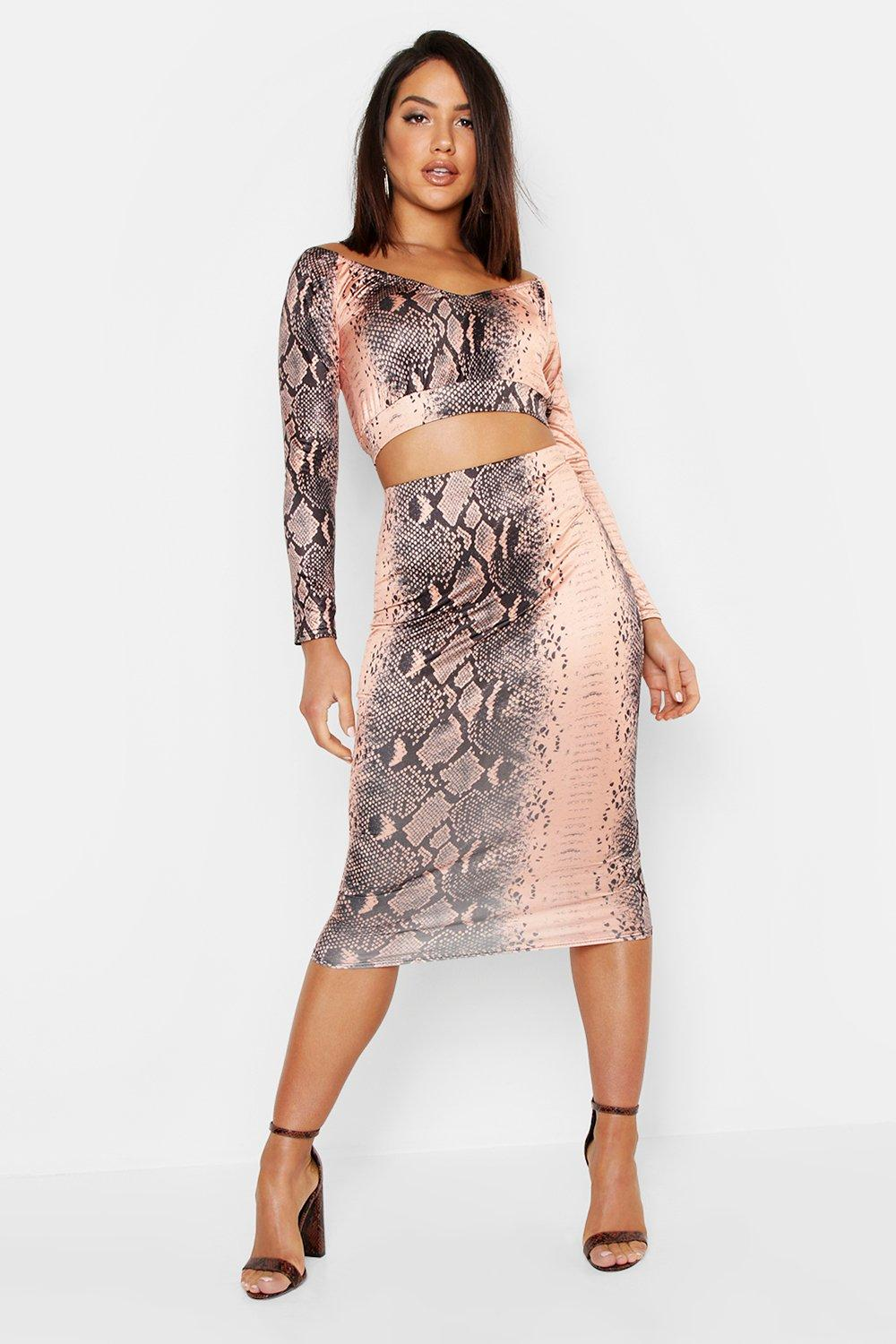 b5bc9432a1e378 Snake Print Slinky Ruched Midi Skirt. Hover to zoom