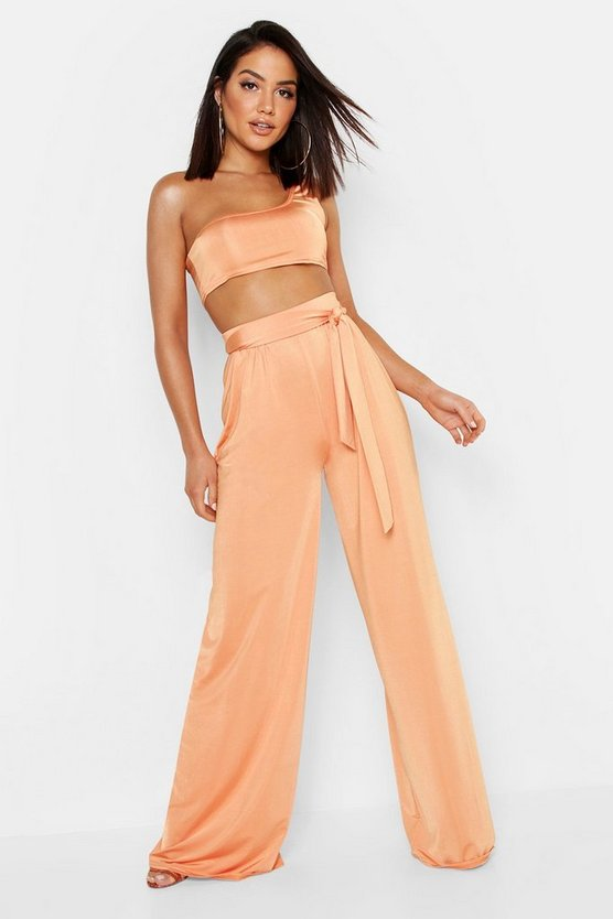 Womens Orange Slinky Belted Wide Leg Trousers