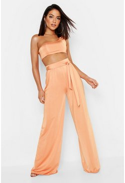 Womens Orange Slinky Belted Wide Leg Pants