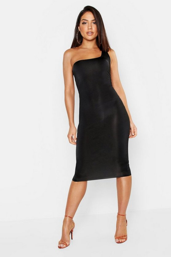 Womens Black Slinky One Shoulder Midi Dress