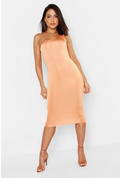 Womens Orange Slinky One Shoulder Midi Dress