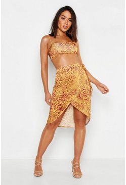 Womens Terracotta Animal Print Wrap Midi Skirt