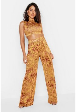 Womens Terracotta Animal Print Wide Leg Trouser