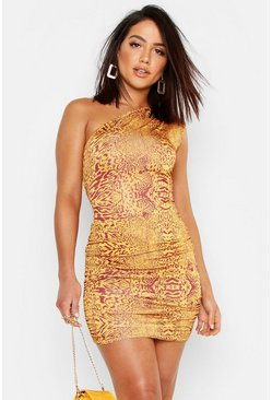 Womens Terracotta Animal Print One Shoulder Bodycon Dress