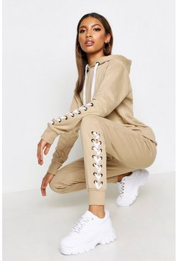 Womens Stone Lace Up Hooded Tracksuit