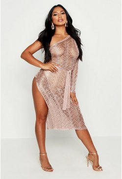 Womens Rose One Shoulder Metallic Knitted Dress