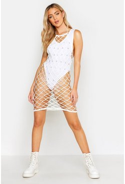 Womens Ivory Halter Neck Star Charm Crochet Knit Mini Dress