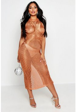 Womens Apricot Metallic Knit Maxi Dress