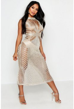 Womens Gold Metallic Knit Maxi Dress