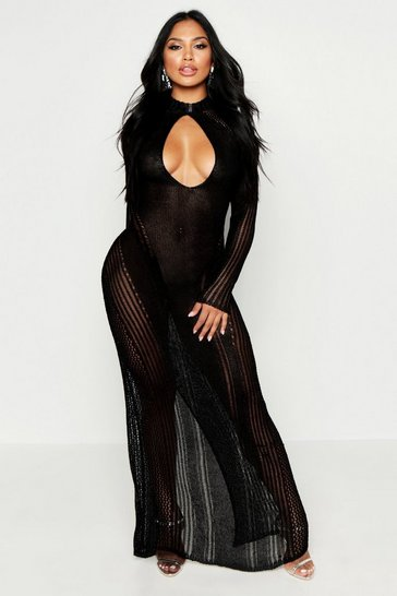 Womens Black Metallic Knit Cut Out Detail Maxi Dress