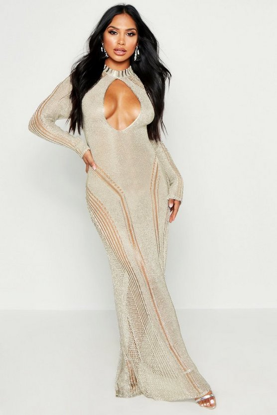 Womens Gold Metallic Knit Cut Out Detail Maxi Dress
