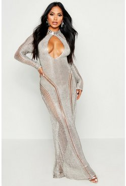 Womens Silver Metallic Knit Cut Out Detail Maxi Dress