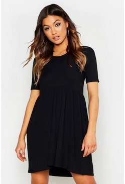 Womens Black Rib Round Neck Smock Dress