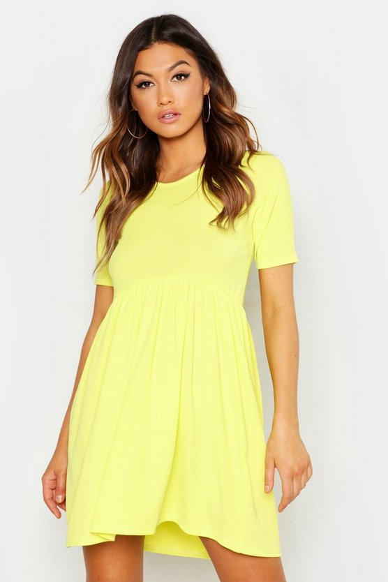 Lime Rib Round Neck Smock Dress