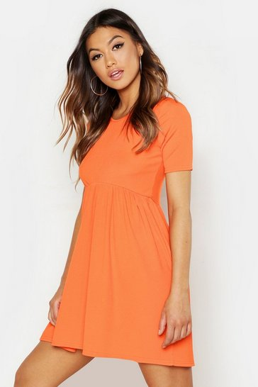 Womens Orange Rib Round Neck Smock Dress