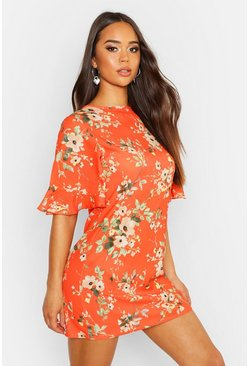 Orange Woven Floral Keyhole Shift Dress