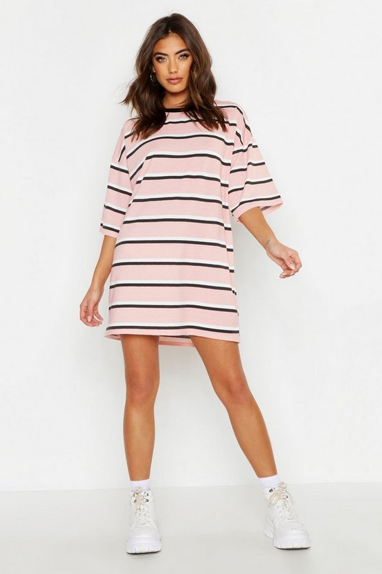 Womens Pink Oversized Stripe T-Shirt Dress