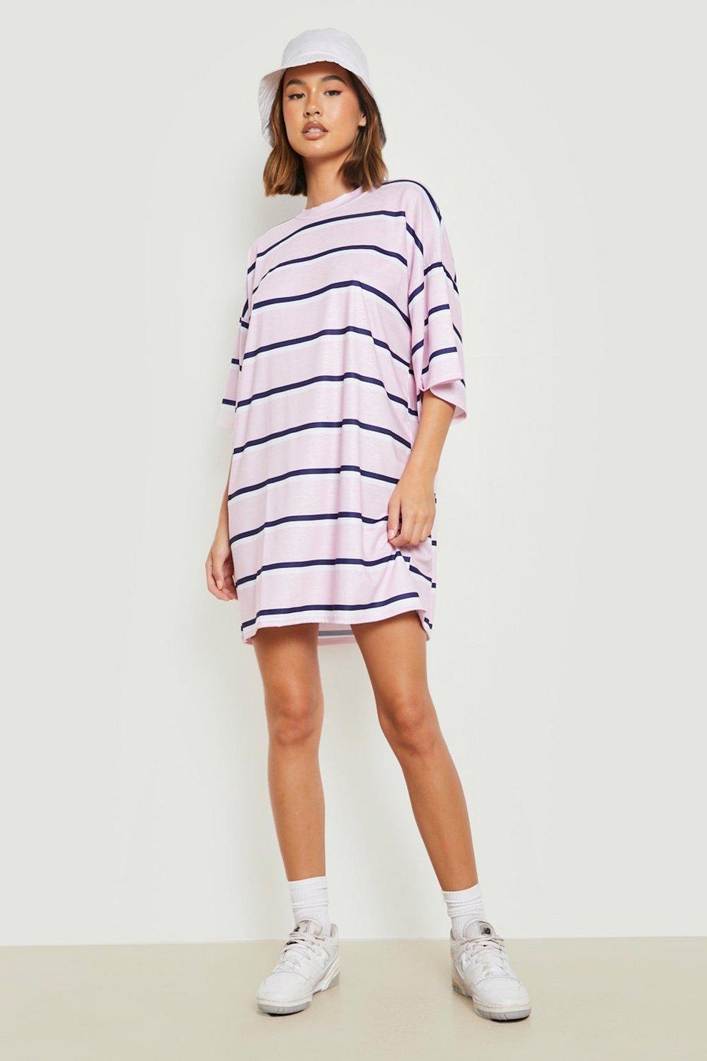 2e7b0b81 Oversized Stripe T-Shirt Dress   Boohoo