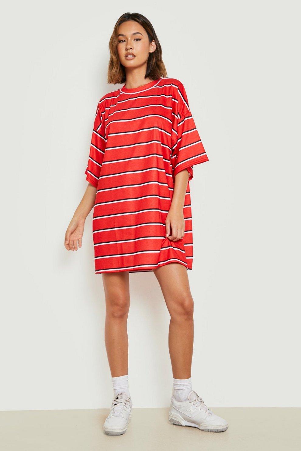 b38a9252a74 Oversized Stripe T-Shirt Dress