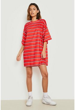 Womens Red Oversized Stripe T-Shirt Dress