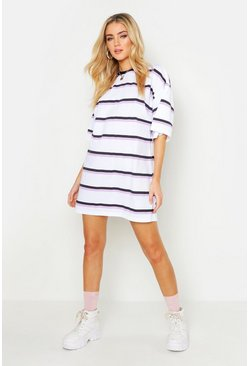Womens White Oversized Stripe T-Shirt Dress