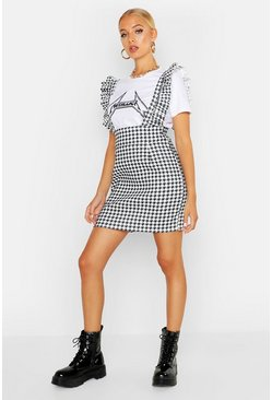 Womens White Dogtooth Ruffle Pinafore Dress