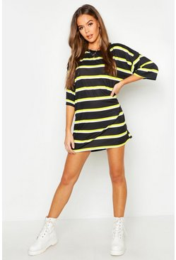 Neon-lime Neon Stripe Oversized T-Shirt Dress