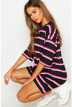 Womens Neon-pink Neon Stripe Oversized T-Shirt Dress