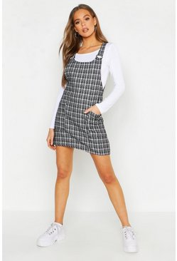 Womens Black Check Pinafore Dress
