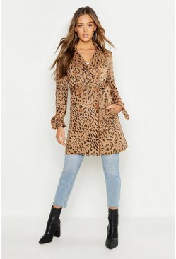 Womens Camel Suedette Leopard Print Belted Trench