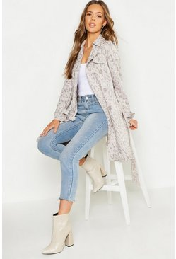 Womens Grey Suedette Leopard Print Belted Trench