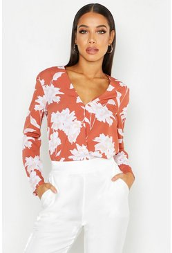 Terracotta Floral Printed Wrap Front Blouse