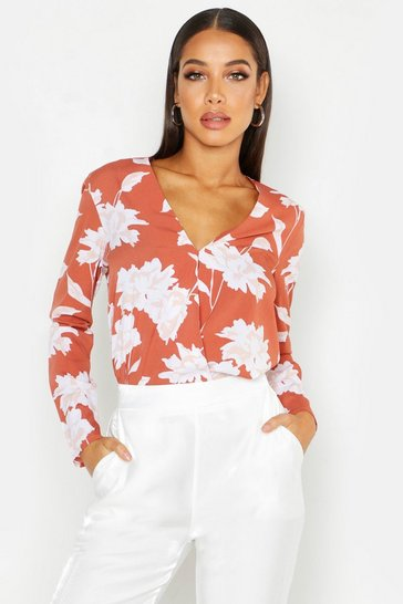 Womens Terracotta Floral Printed Wrap Front Blouse