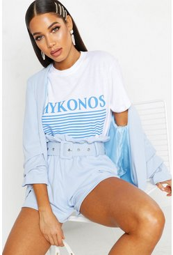 Womens White Mykonos Slogan T-Shirt