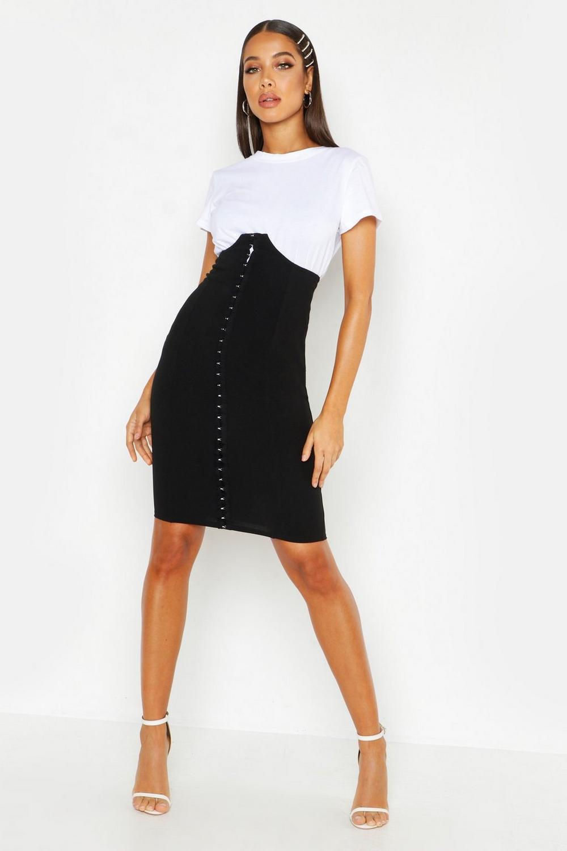 boy distinctive style hot-selling Corset Detail Super High Waist Midi Skirt   Boohoo