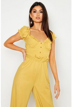 Womens Mustard Linen Look Off The Shoulder Crop Top