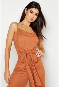 Womens Terracotta Linen Look Tie Front Cami Top