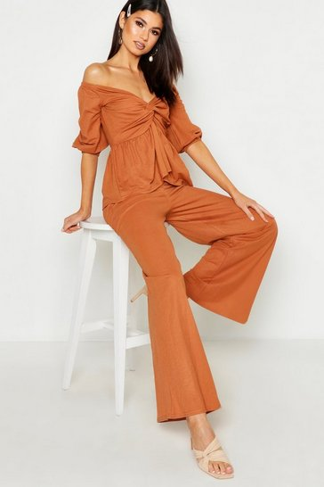 Womens Terracotta Linen Look Off The Shoulder Top