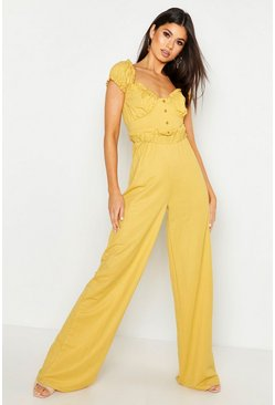 Mustard Linen Look Paper Bag Wide Leg Trouser