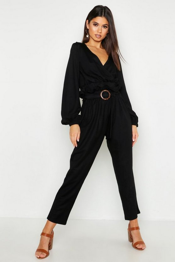 Black Linen Look Belted Tapered Trouser